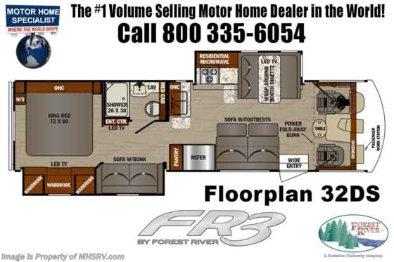 New 2020 Forest River FR3 32DS Bunk Model RV W/ King & OH Loft Floorplan