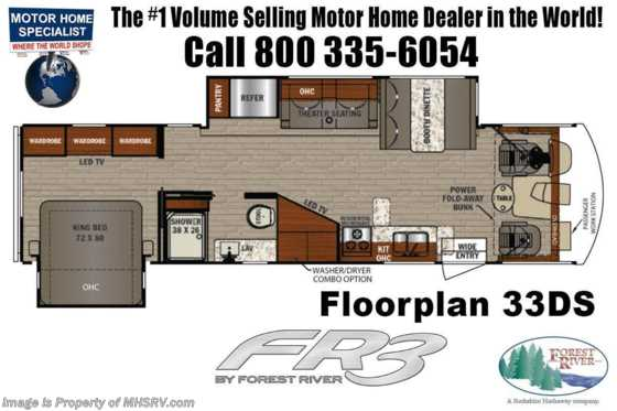 2020 Forest River FR3 33DS RV W/ Theater Seats, King, W/D, OH Loft Floorplan