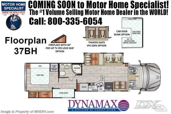 2020 Dynamax Corp DX3 37BH W/Bunks, OH Bed, Theater Seats, Chrome Pkg Floorplan