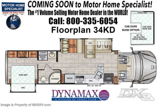 2020 Dynamax Corp DX3 34KD Super C W/ Black Out Pkg, Sat, W/D, Solar Floorplan