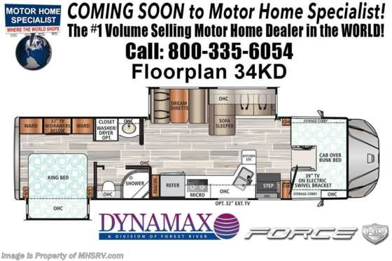 2020 Dynamax Corp Force HD 34KD Super C Diesel RV W/ Solar, Sat & W/D Floorplan