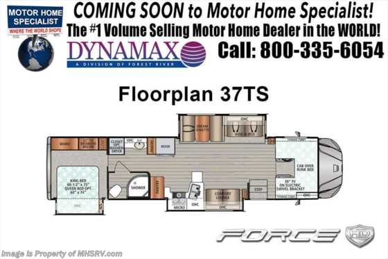 2019 Dynamax Corp Force HD 37TS Super C W/Theater Seats, Solar, Ent Center Floorplan