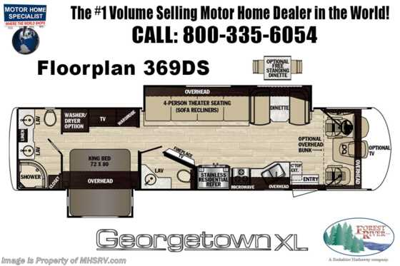 New 2020 Forest River Georgetown XL 369DS Bath & 1/2 RV W/OH Loft, Ext. TV, Dishwasher Floorplan