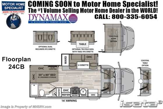 2020 Dynamax Corp Isata 3 Series 24CB Sprinter Diesel W/ Cab-Over, Jacks, TPMS Floorplan