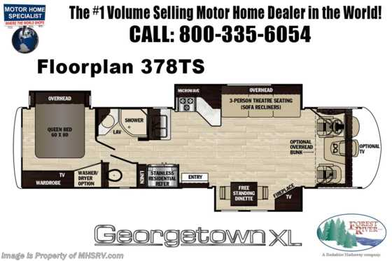 2020 Forest River Georgetown XL 378TS RV for Sale W/ Ext TV, OH Loft & W/D Floorplan