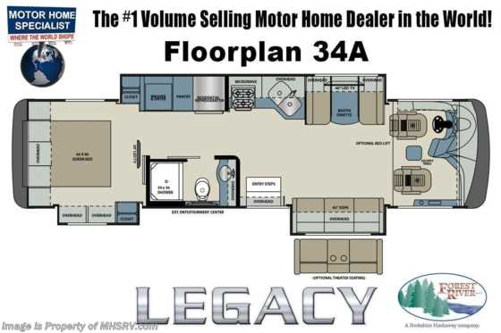2019 Forest River Legacy SR 340 34A Luxury Diesel Pusher w/Diesel Gen, Power Loft & More! Floorplan