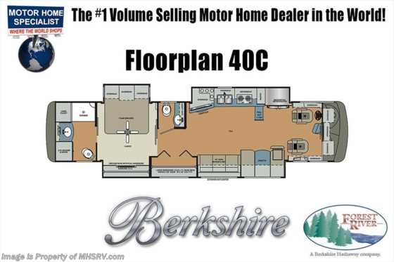 2019 Forest River Berkshire XL 40C -380 Bath & 1/2 RV W/ Bunks, 3 A/C Floorplan