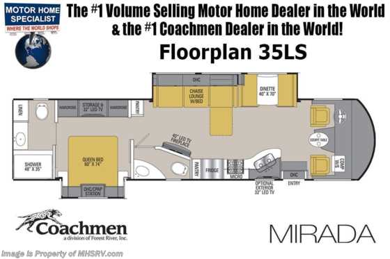 2020 Coachmen Mirada 35LS Bath & 1/2 RV for Sale W/FBP, 2 A/Cs & Ext TV Floorplan