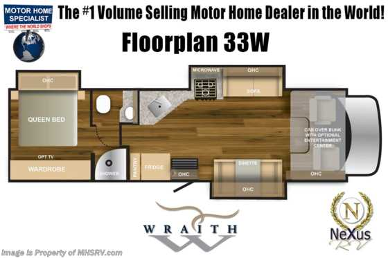 2020 Nexus Wraith 33W Super C International Diesel RV W/Theater Seat Floorplan