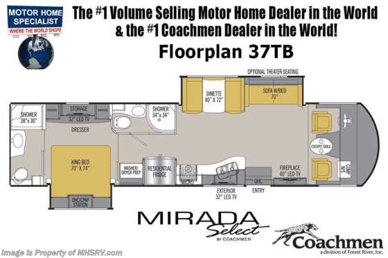 New 2020 Coachmen Mirada Select 37TB Bath & 1/2 W/2 A/C, Theater Seat, Salon Bunk Floorplan