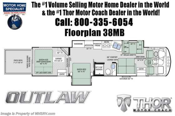 New 2020 Thor Motor Coach Outlaw 38MB Toy Hauler RV W/OL RVX Unit Special Floorplan