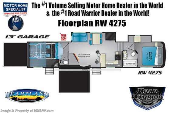 2020 Heartland RV Road Warrior 4275RW Bath & 1/2 W/King 3 A/C, 5.5KW Gen & Rear Air Room Floorplan