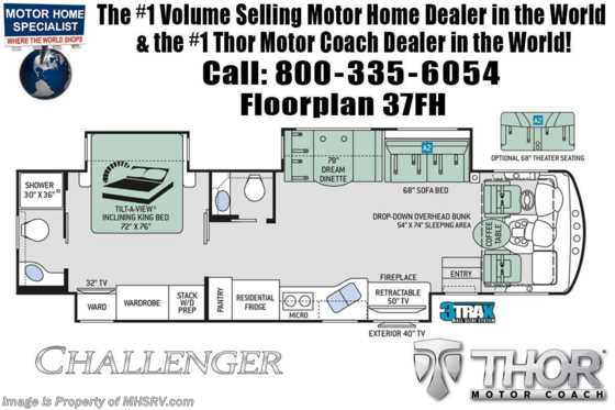 New 2020 Thor Motor Coach Challenger 37FH Bath & 1/2 RV W/ Theater Seats & King Floorplan
