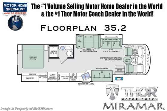 2020 Thor Motor Coach Miramar 35.2 W/Theater Seats, Cabover Loft & King Floorplan