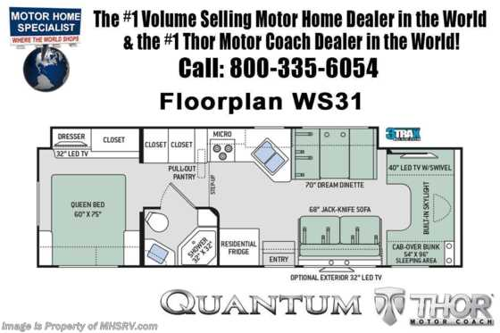 New 2020 Thor Motor Coach Quantum WS31 Class C RVW/2 A/Cs, Nav & Res Fridge Floorplan