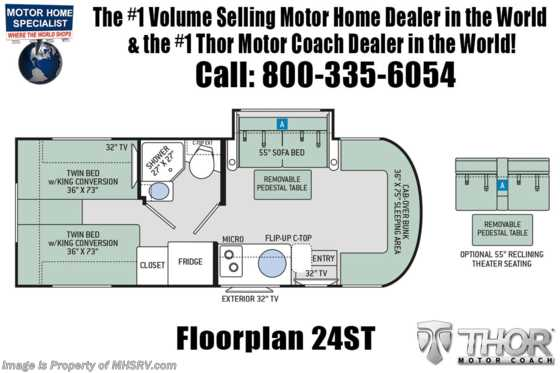 2020 Thor Motor Coach Citation Sprinter 24ST W/Theater Seats, Dsl Gen, 15K A/C Floorplan