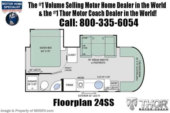 2020 Thor Motor Coach Citation Sprinter 24SS W/15K A/C, Dsl Gen, Navigation Floorplan