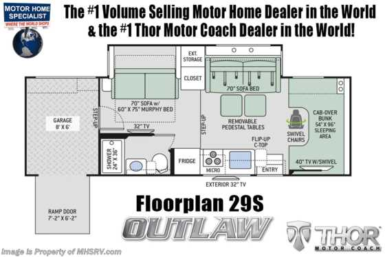 New 2020 Thor Motor Coach Outlaw 29S Toy Hauler W/ Cabover Loft, WiFi, Ext TV Floorplan