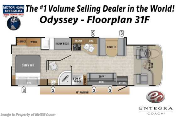 2020 Entegra Coach Odyssey 31F Bunk Model W/ Bedroom TV & Jacks Floorplan