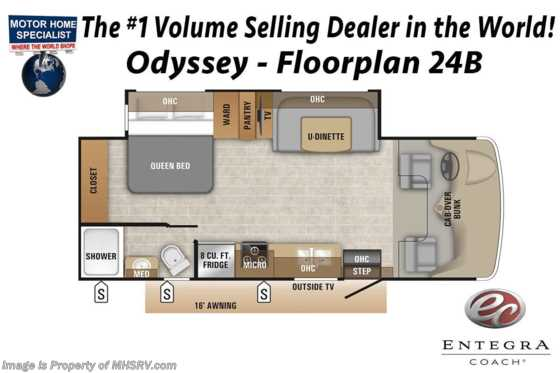 2020 Entegra Coach Odyssey 24B RV for Sale W/ Bedroom TV & Jacks Floorplan