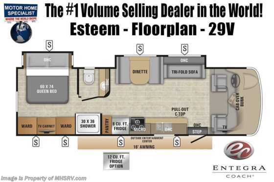 2020 Entegra Coach Esteem 29V W/Fiberglass Roof, 2 A/Cs, Large Refrigerator Floorplan