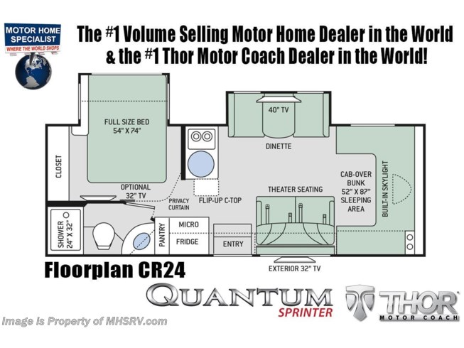 Floorplan of 2020 Thor Motor Coach Quantum Sprinter CR24