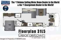 2020 Forest River Georgetown 5 Series GT5 31L5 Class A RV W/ Theater Seats, King & OH Loft