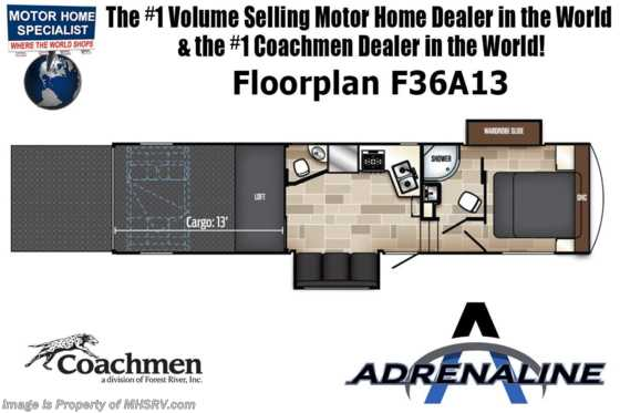 2020 Coachmen Adrenaline F33A17 Toy Hauler W/5.5KW Gen, 2 A/Cs Floorplan