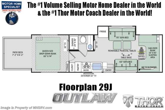 New 2020 Thor Motor Coach Outlaw 29J Toy Hauler W/ Ext TV, Cabover Loft & WiFi Floorplan
