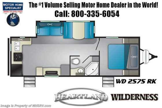 2020 Heartland RV Wilderness WD 2575 RK W/ 15K A/C, Pwr Stabilizers Floorplan