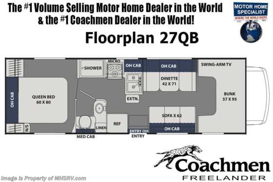 2020 Coachmen Freelander  27QBC W/ WiFi, 3 Cams, 15K A/C, Ext TV Floorplan