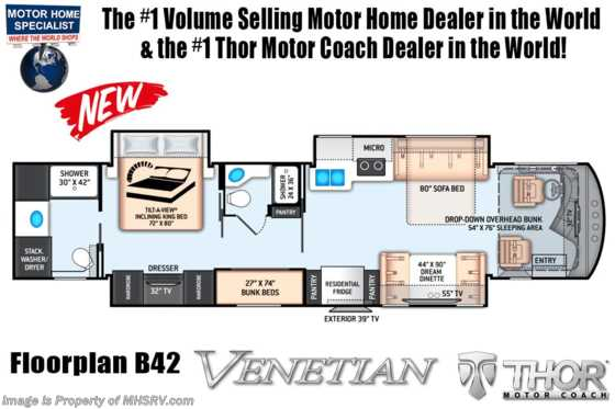 New 2020 Thor Motor Coach Venetian B42 2 Full Bath Luxury RV for Sale W/ Bunks, 10KW Gen & 400HP Floorplan