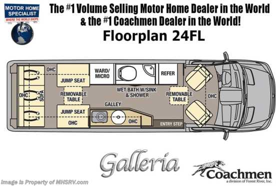 2020 Coachmen Galleria 24FL 4x4 Sprinter W/20K A/C, Sumo Springs, Aluminum Rims Floorplan