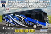 2020 Entegra Coach Aspire 44W Bath & 1/2 Luxury Diesel Pusher W/ Theater Seats, WiFi & Solar