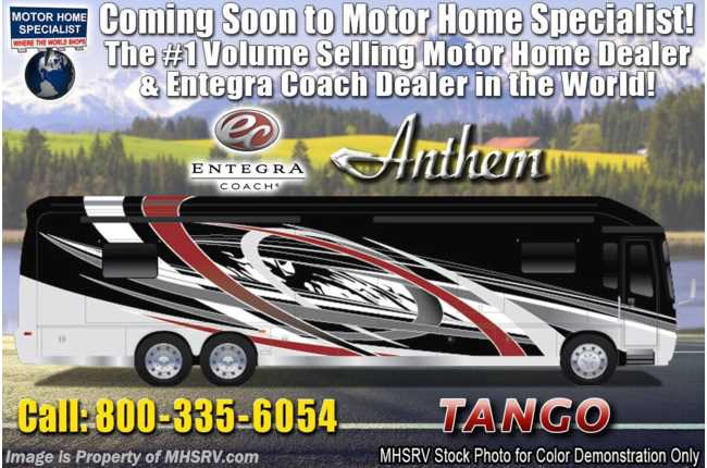 2020 Entegra Coach Anthem 44W Bath & 1/2 Luxury RV W/ WIFI, In-Motion Sat