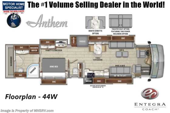 2020 Entegra Coach Anthem 44W Bath & 1/2 Luxury RV W/ WIFI, In-Motion Sat Floorplan