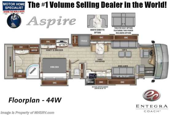 2020 Entegra Coach Aspire 44W Bath & 1/2 Luxury Diesel Pusher W/ Theater Seats, Solar & 450HP Floorplan