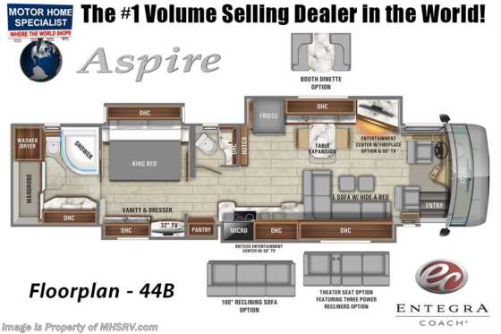2020 Entegra Coach Aspire 44B Bath & 1/2 Luxury Diesel Pusher W/ Theater Seats, WiFi & Solar Floorplan
