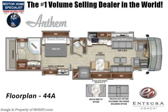 2020 Entegra Coach Anthem 44A Bath & 1/2 Luxury RV W/ Theater Seats, WiFi, In-Motion Sat Floorplan