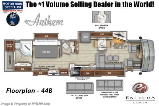 2020 Entegra Coach Anthem 44B Bath & 1/2 Luxury RV W/ In-Motion Sat, WiFi & 450HP Floorplan