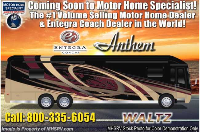 2020 Entegra Coach Anthem 44B Bath & 1/2 Luxury RV W/ In-Motion Sat, WiFi & 450HP