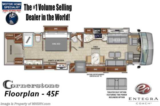 2020 Entegra Coach Cornerstone 45F Bath & 1/2 W/ Theater Seats, WiFi, Solar, King Bed Floorplan