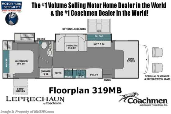 2020 Coachmen Leprechaun 319MB W/ FBP, Exterior TV, Dual Recliners, Aluminum Rims, Jacks Floorplan