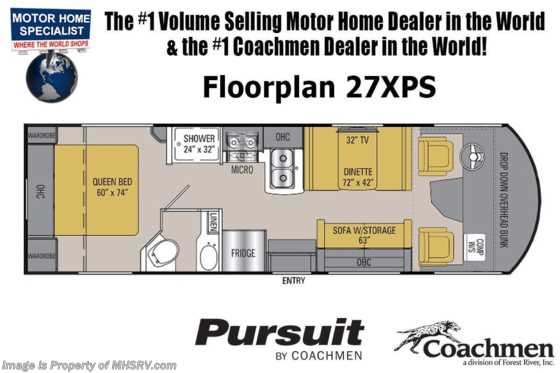 2020 Coachmen Pursuit 27XPS Precision W/ 15K A/C & OH Loft Floorplan
