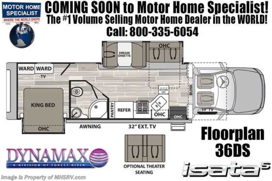 2020 Dynamax Corp Isata 5 Series 36DS Diesel Super C RV for Sale W/ Theater Seats & TPMS Floorplan
