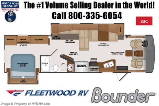 2020 Fleetwood Bounder 33C Class A RV W/Collision Avoidance, OH Loft, Loft Floorplan