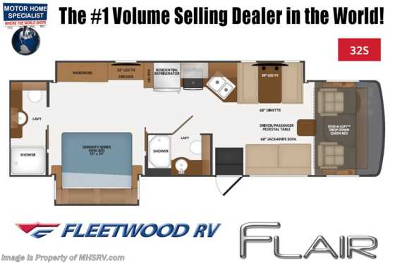 2020 Fleetwood Flair 32S 2 Full Bath W/ Theater Seats, 2 A/Cs, King Bed, 5.5KW Generator Floorplan