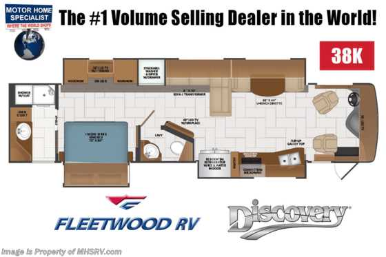 2020 Fleetwood Discovery 38K Bath & 1/2 RV W/ Theater Seats, Tech Pkg & 3 A/Cs Floorplan