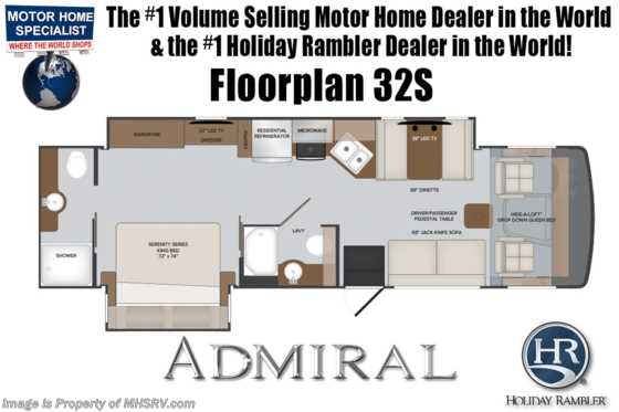 2020 Holiday Rambler Admiral 32S 2 Full Bath Class A Gas RV W/ 2 A/Cs, 5.5KW Gen, King Floorplan