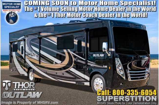 2020 Thor Motor Coach Outlaw Toy Hauler 38MB Toy Hauler RV for Sale W/ Dual Pane, Garage Sofas